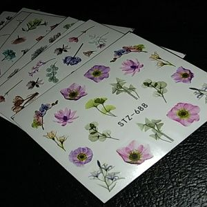 New 250+ assorted floral nail tattoos